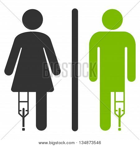 Patient WC Persons vector icon. Style is bicolor flat icon symbol with rounded angles, eco green and gray colors, white background.