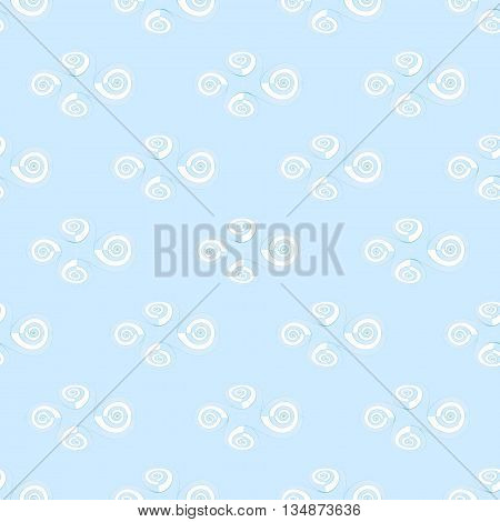 Abstract geometric seamless background. Regular spiral pattern white on pastel blue, delicate and stylish, quiet colors.