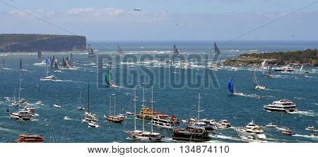 Sydney, Australia - December 26, 2014. Comanche is leading.  The Sydney to Hobart Yacht Race is an annual event, starting in Sydney on Boxing Day and finishing in Hobart.