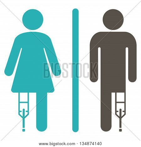 Patient WC Persons vector icon. Style is bicolor flat icon symbol with rounded angles, grey and cyan colors, white background.