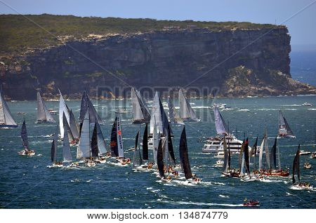 Sydney, Australia - December 26, 2014. Yachts are arriving to North Head. The Sydney to Hobart Yacht Race is an annual event, starting in Sydney on Boxing Day and finishing in Hobart.