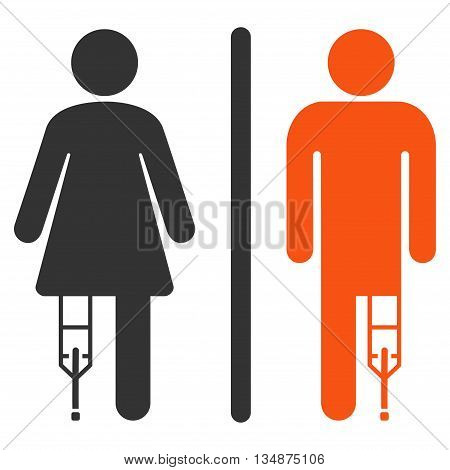 Patient WC Persons vector icon. Style is bicolor flat icon symbol with rounded angles, orange and gray colors, white background.