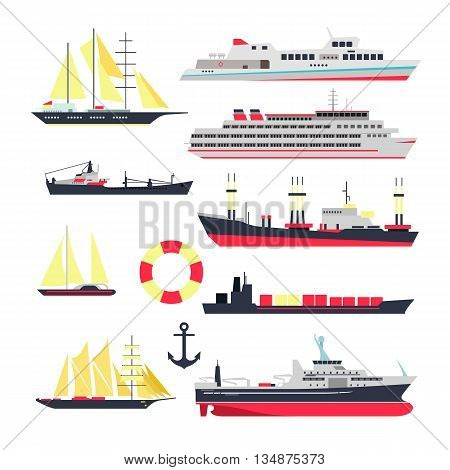 Vector set of sea ships, boats and yacht isolated on white background. Marine transport design elements and icons in flat style. Ocean travel concept.