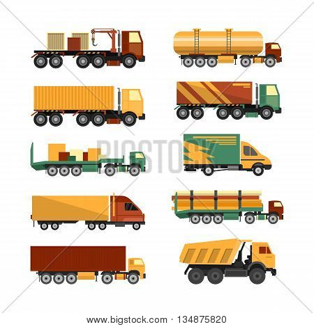Vector set of trucks icons isolated on white background. Delivery and shipping cargo vehicles. Transportation design elements in flat style.