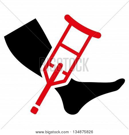 Leg and Crutch vector icon. Style is bicolor flat icon symbol with rounded angles, intensive red and black colors, white background.