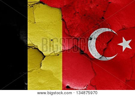 Flags Of Belgium And Turkey Painted On Cracked Wall