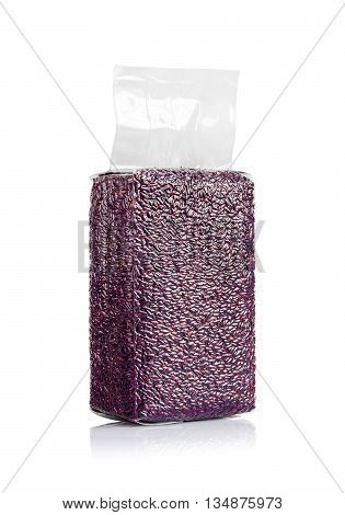 rice berry in plastic pouch isolated on white background with clipping path