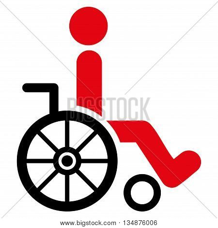 Wheelchair vector icon. Style is bicolor flat icon symbol with rounded angles, intensive red and black colors, white background.