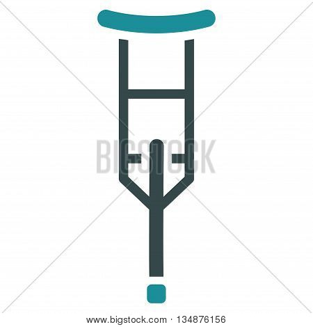 Crutch vector icon. Style is bicolor flat icon symbol with rounded angles, soft blue colors, white background.