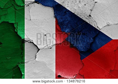 Flags Of Italy And Czechia Painted On Cracked Wall