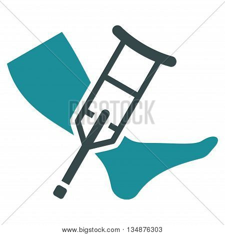 Leg and Crutch vector icon. Style is bicolor flat icon symbol with rounded angles, soft blue colors, white background.