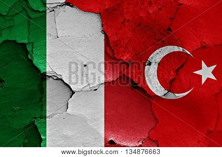 Flags Of Italy And Turkey Painted On Cracked Wall