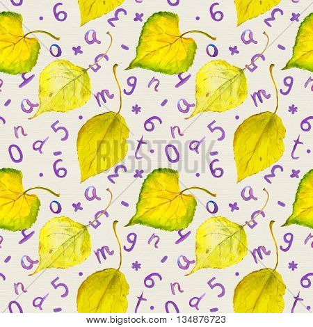 Seamless autumn pattern with yellow autumn leaves and hand written letters and numerals. School background. Watercolour