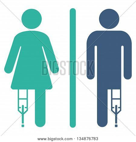 Patient WC Persons vector icon. Style is bicolor flat icon symbol with rounded angles, cobalt and cyan colors, white background.