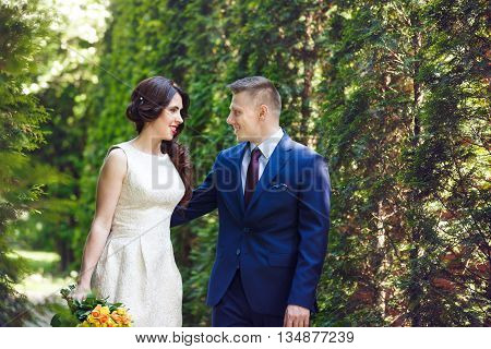 Romantic wedding couple embracing on a background of green trees