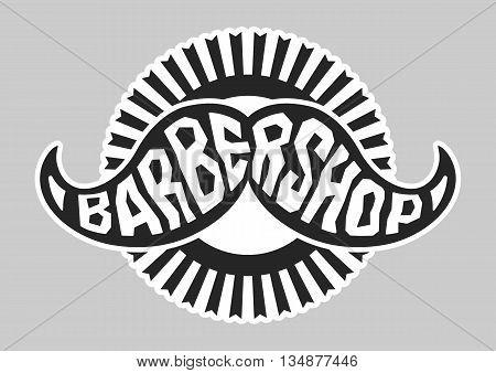 Barbershop logo. Black and white. Vector illustration