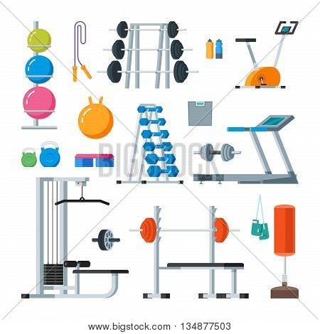 Fitness and workout exercise in gym. Vector set of gym icons in flat style isolated on white background. Gym equipment, dumbbell, weights, treadmill, ball.