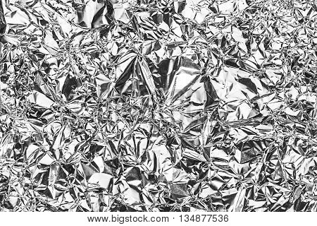 Shiny Silver Foil Texture For Background And Shadow. Crease.