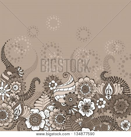 Ornate vector card template in Indian mehndi style. Background in coffee colors. Invitation cards with mehndi elements. Floral ornament. Islam arabic indian ottoman motifs.