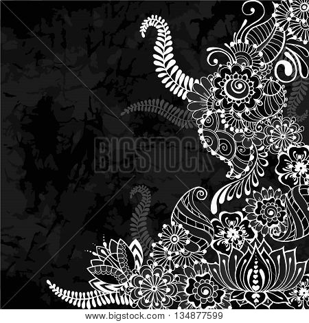 Ornate vector card template in Indian mehndi style. Old black background. Invitation cards with mehndi elements. Floral ornament. Islam arabic indian ottoman motifs.