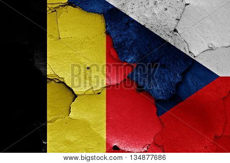 Flags Of Belgium And Czechia Painted On Cracked Wall