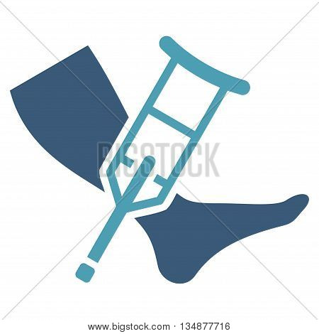 Leg and Crutch vector icon. Style is bicolor flat icon symbol with rounded angles, cyan and blue colors, white background.
