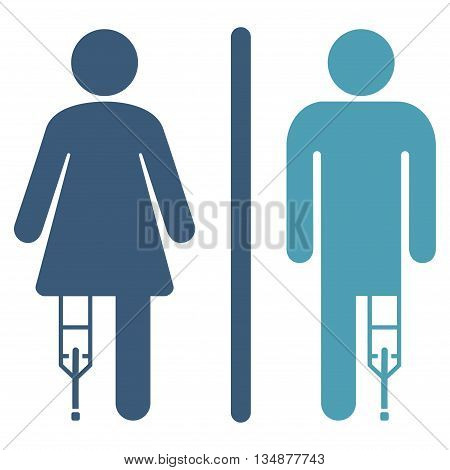 Patient WC Persons vector icon. Style is bicolor flat icon symbol with rounded angles, cyan and blue colors, white background.