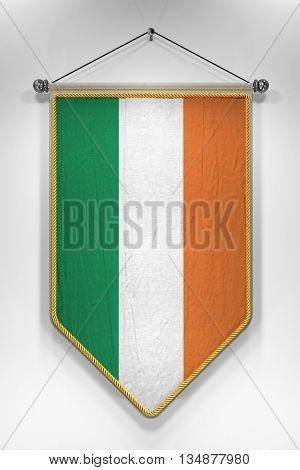 Pennant with Irish flag. 3D illustration with highly detailed texture.