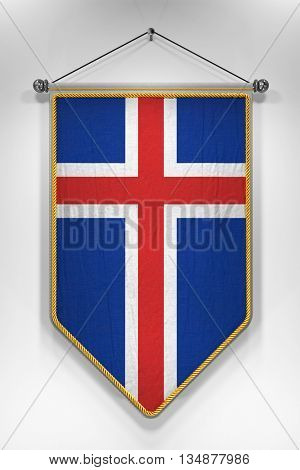 Pennant with Icelandic flag. 3D illustration with highly detailed texture.