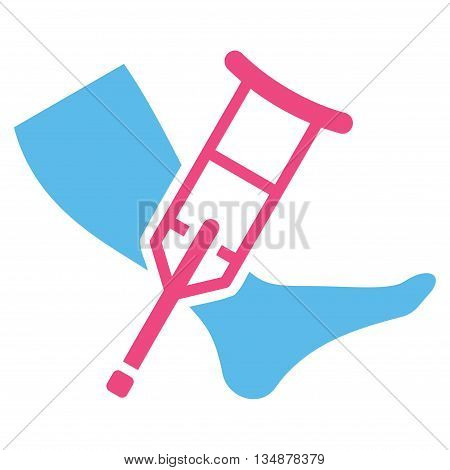 Leg and Crutch vector icon. Style is bicolor flat icon symbol with rounded angles, pink and blue colors, white background.