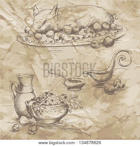 Freehand drawing on the old paper. Meat and vegetables on a plate with fruit drinks in glasses and bottles sauces salads. Vector illustration. Retro. Vintage style of food design.