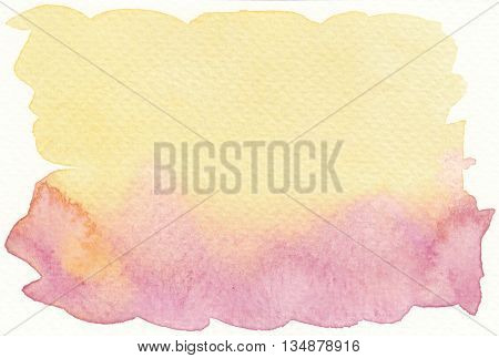 flat faded yellow pink abstract watercolor background