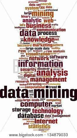 Data mining word cloud concept. Vector illustration