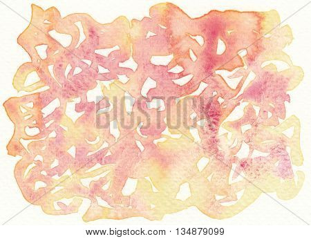 pink yellow chaos drawings abstract watercolor background