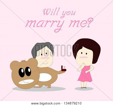 Will you marry me. Card for lover. Vector illustration. EPS10