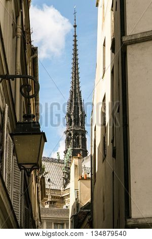 View of Notre Dame de Paris from the narrow streets of Paris.