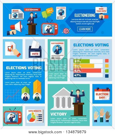 Elections and voting flat rectangular isolated elements collection with promotional company voter counting vote results  vector illustration