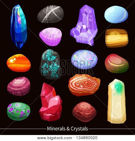 Shiny colorful minerals crystals stones and rocks of different size and shape with various textures set on black background cartoon isolated vector illustration