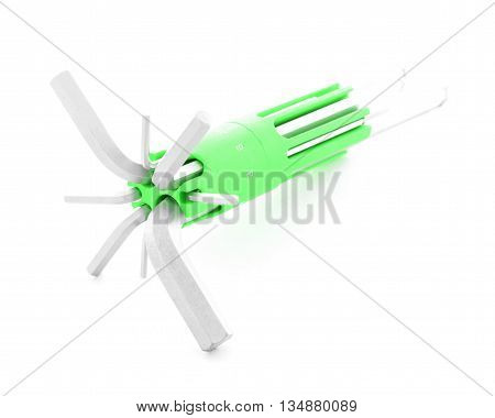 Allen wrench, metal tool for screw, isolated, on white background