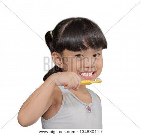 Little asian cute girl brush teeth on white background
