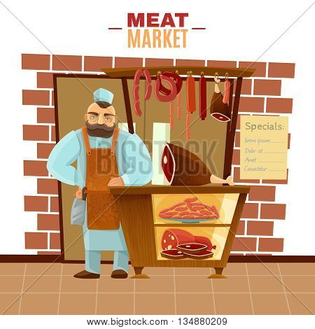 Butcher and meat market with sausages beef and bacon cartoon vector illustration