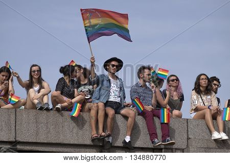Sofia Bulgaria - June 18 2016: Sofia Pride is the biggest annual event dedicated to the equality and human rights of all citizens and the biggest event increasing the visibility of LGBTI people in the country.