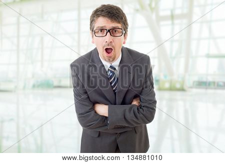 surprised business man surprised at the office