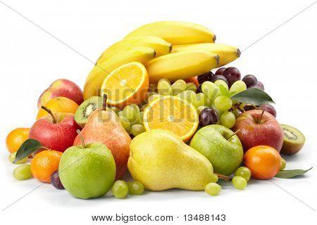 fresh fruits on the white background