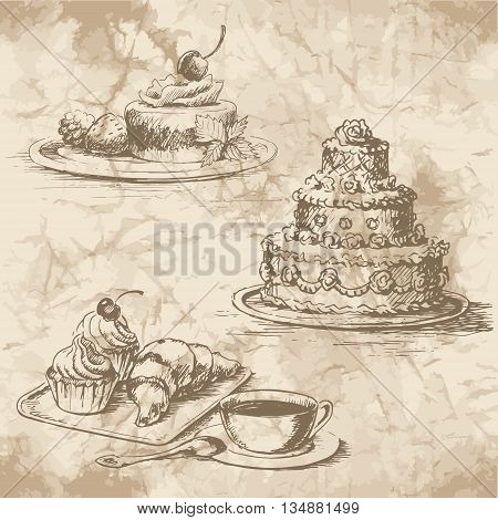Freehand drawing of the desserts on the old paper. Cheesecake with berries and mint muffins croissant and a cup of coffee with a spoon a large wedding cake with ornate decor. Vintage style of food design.
