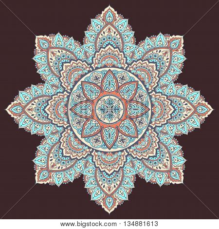 Beautiful Indian floral ornament. Ethnic Mandala. Henna tattoo style.