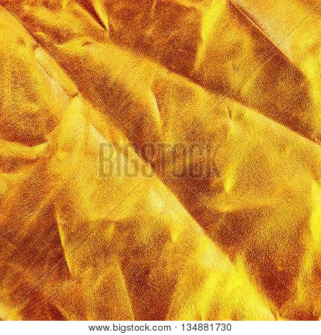 Gold Background Or Texture And Shadow.  Fabric Crease