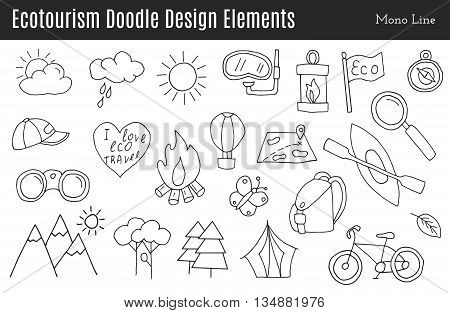 Set of ecotourism design elements in monochromatic line style isolated on a white background. Doodle eco green environmental nature logo concept. Hand drawn eco tourism vector illustration.