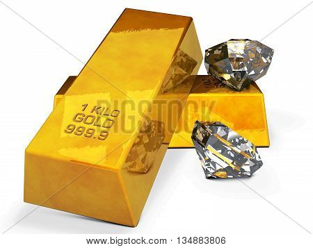 Illustration of gold bars and diamonds isolated on white background.3d rendering
