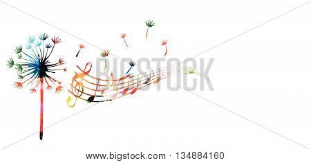 Vector illustration of dandelion seed with music notes
